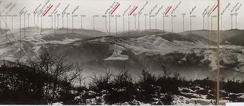 Tájékozódási körfénykép Col del Gallo–Passubio között, 1918. 01. 26. (részlet). Pirossal jelölve a posztban megemlített magaslatok és települések