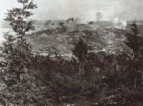 Tüzérségi tűz a Monte di Val Bellán 1918. június 29-én