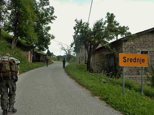 Srednje városka északi bejárata. Bertalanék ebből az irányból támadták hátba a várost elkeseredetten védő olasz csapatokat