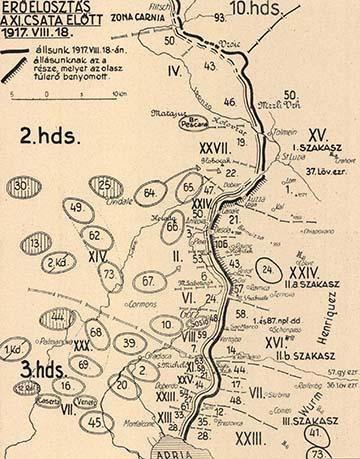 Erőeloszlás a 11. isonzói csata előtt 1917. augusztus 18-án