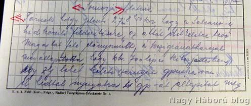 Sipos ezredes jelentése Tárnok hadnagy jelentése után