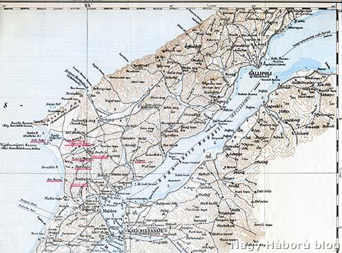 A Gallipoli-félsziget északi része, rajta pirossal bejelölve a tanulmányunkban említett helység- és földrajzi nevek