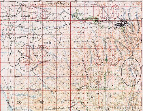 Korabeli angol katonai térkép, rajta bejelölve a Matikdere völgye, ahol a motoros mozsárüteg első állása volt