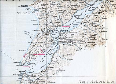 A Gallipoli-félsziget déli része, rajta pirossal bejelölve a tanulmányunkban említett helység- és földrajzi nevek