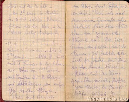 Gömöry Árpád német nyelvű naplóbejegyzése 1914. szeptember 11-én