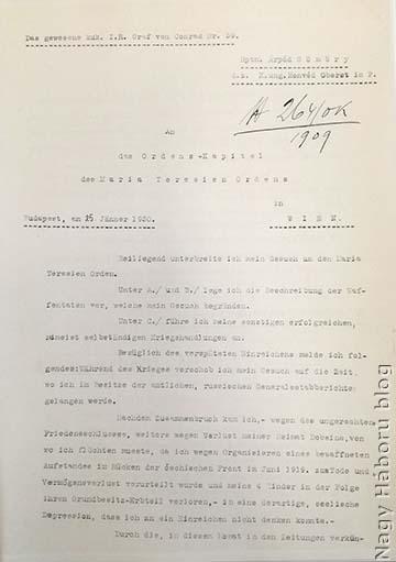 Gömöry Árpád folyamodványa a Katonai Mária Terézia-rendért