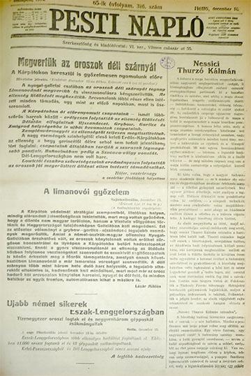 A Pesti Napló 1914. december 14-ei számának címlapja