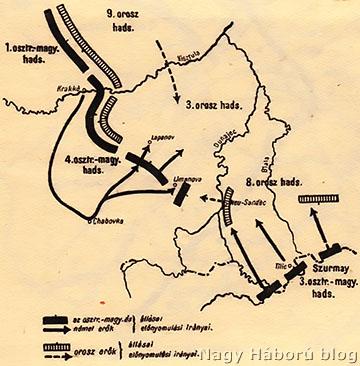 Az ellenfelek helyzete a limanova–lapanovi csatában