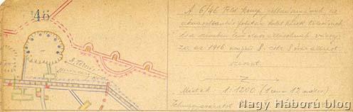 A robbantási tölcsér. Kókay László vázlata a szegedi 46-os gyalogezred 6. százada jobb szárnya előtti területről 1916. május 8-án
