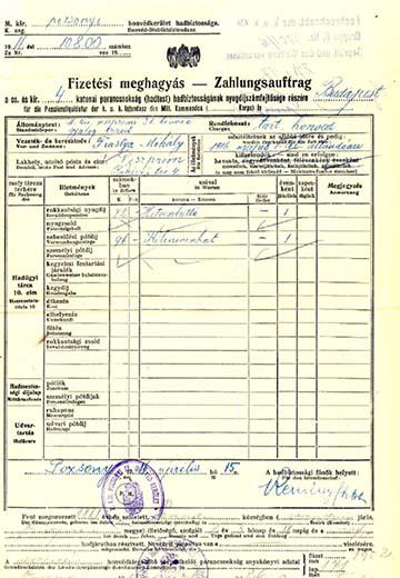 Frastya Mihály tartalékos honvéd, veszprémi hadirokkant fizetési meghagyása 1916-ból. A m. kir. veszprémi 31. honvéd gyalogezred volt katonája 72 Korona rokkantsági nyugdíjban és 96 Korona sebesülési pótdíjban részesült