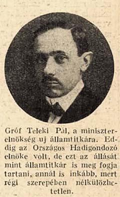 Gróf Teleki Pál 1918-ban