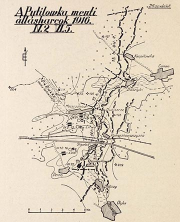A Putilowka menti állásharcok 1916. április 2. - június 5. között. A naplóíró ütege 1916 húsvétján