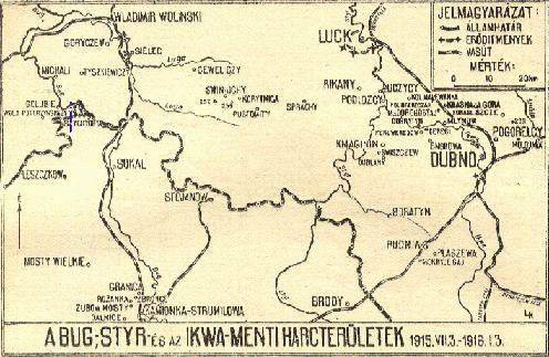 A hadosztály harcterülete 1915-1916 fordulóján