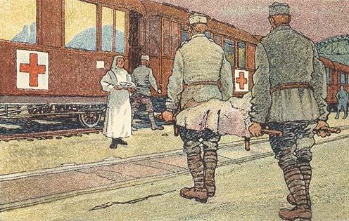 Kórházvonat ábrázolása korabeli képeslapon