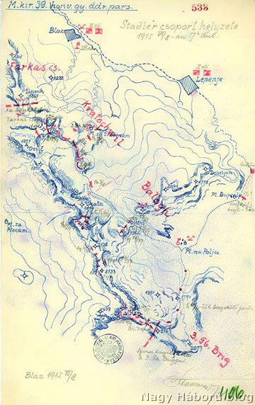 A Stadler csoport helyzete 1915. június 8-án