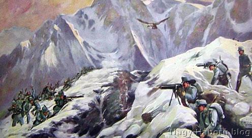 Korabeli képeslap az olaszokkal vívott hegyi harcokról