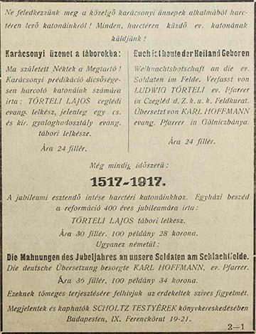 Törteli Lajos lelkész írásainak hirdetése az Evangélikus Őrálló című lap 1917. december 15-i számában