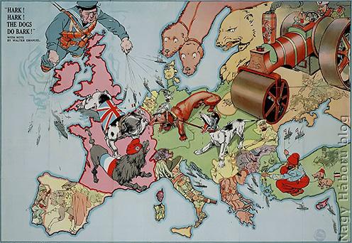 Angol szatirikus térkép 1914-ből