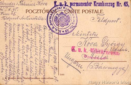 A cs. és kir. 45. sz. kórházvonat pecsétlenyomatai Kósa György Przemyślből küldött képeslapjának hátoldalán