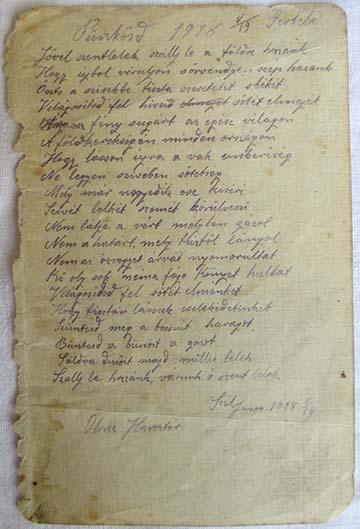Szél János fronton írt verse