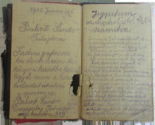 Bálint Sándor tábori notesze