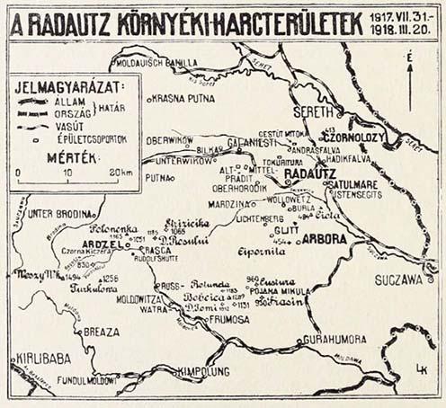 Imre Gábor 1917-es naplójában tárgyalt események helyszíne