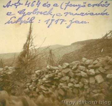 A 464-es magaslat (ma Veliki Vrh) és a Golnek (ma Renški Vrh) fotója a ranzianói (ma Renče-i) útról 1917 januárjában, Kókay László jegyzetével