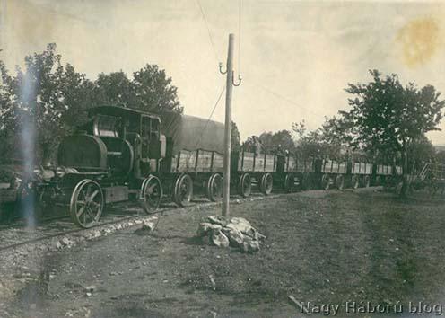 A Dutovlje és Kostanjevica közötti tábori vasút Sutánál 1917-ben