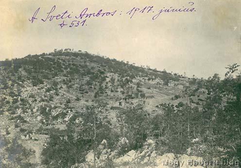 A Sveti Ambrosról 1917. júniusában készült fotó Kókay László jegyzetével