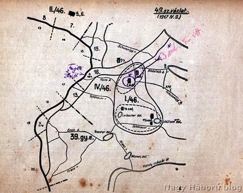 A naplóban említett terület vázlata Kókay László jelöléseivel