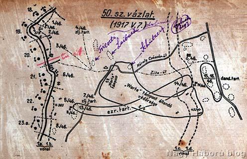 A terület ezredtörténetből származó különlenyomaton lévő vázlata, Kókay László naplójába téve, a szerző jelöléseivel