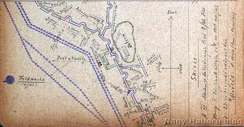 Kókay László vázlata naplójában a XX. védelmi szakaszról, ahol 1917. május 7. és 22. között volt a szakaszával