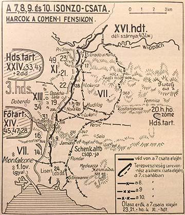 A Komeni-fennsík vázlata a 7–10. isonzói csata időszakában. A napló a 10. isonzói csata előtti napokban játszódik