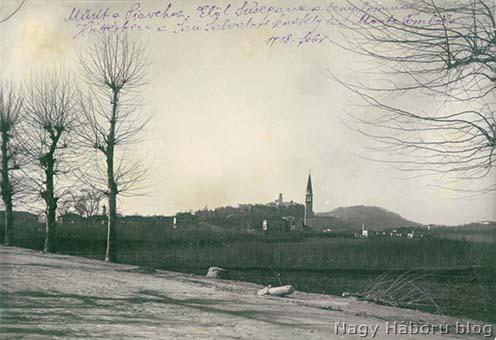 Susegana, a háttérben a San Salvatore kastély és a Colle Della Tombola