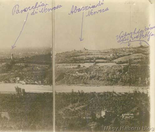Kókay László támadási végcélja a Piave túloldalán a Montellón a San Salvatore kastély tornyából készült felvételen