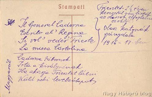 A szövegben említett Il General Cadorna című gúnydal szövege Kókay László hagyatékából egy Triesztet ábrázoló képeslap hátoldalán