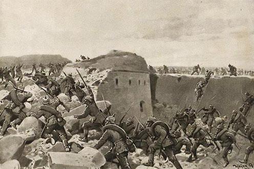 A bajor csapatok sikeres támadása az egyik przemyśli erőd ellen