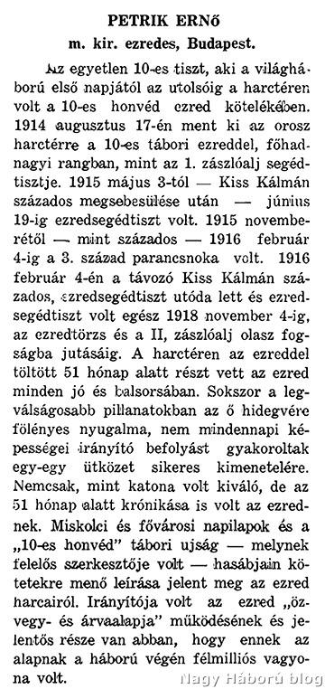 Petrik Ernő katonai pályafutásának ismertetése az említett ezredalbumban
