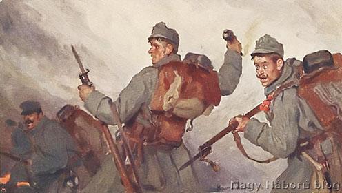 Harcjelenet korabeli képeslapon