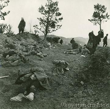 Az elesettek összegyűjtése a csata után