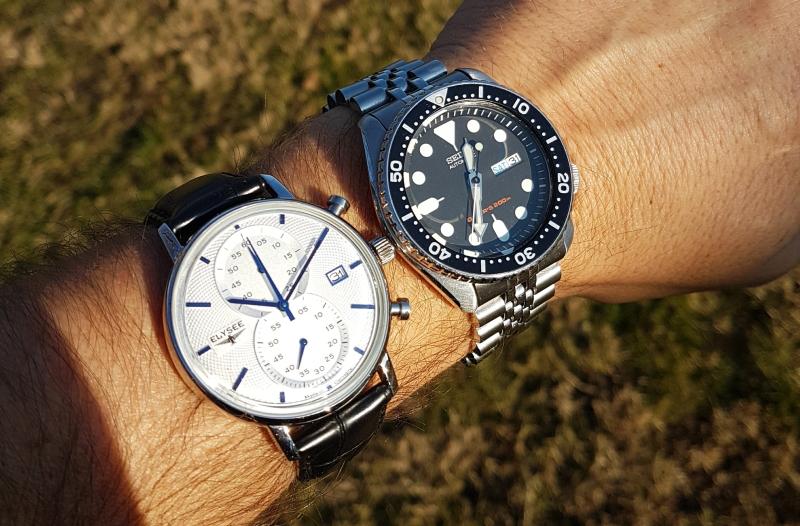 Elysée Minos vs. Seiko SKX007 - mindkettő óra 42mm átmérőjű, ugye milyen csalóka?