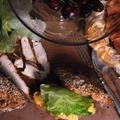 Rozmaringos fűszervajban sült szelídgesztenye, csirkés szendvics, friss majonézzel és zöldsalátával, almás rétes