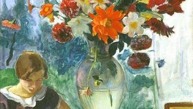 Jeune Fille Lisant et Vase de Fleurs