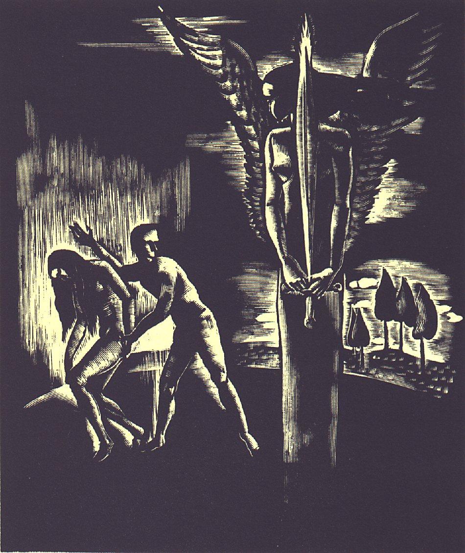 II. szín: A paradicsomban <br />Buday György illusztrációja Madách Imre Az ember tragédiája című drámájához.