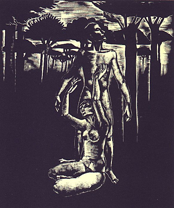 III. szín: Pálmafás vidék a paradicsomon kívül <br />Buday György illusztrációja Madách Imre Az ember tragédiája című drámájához.