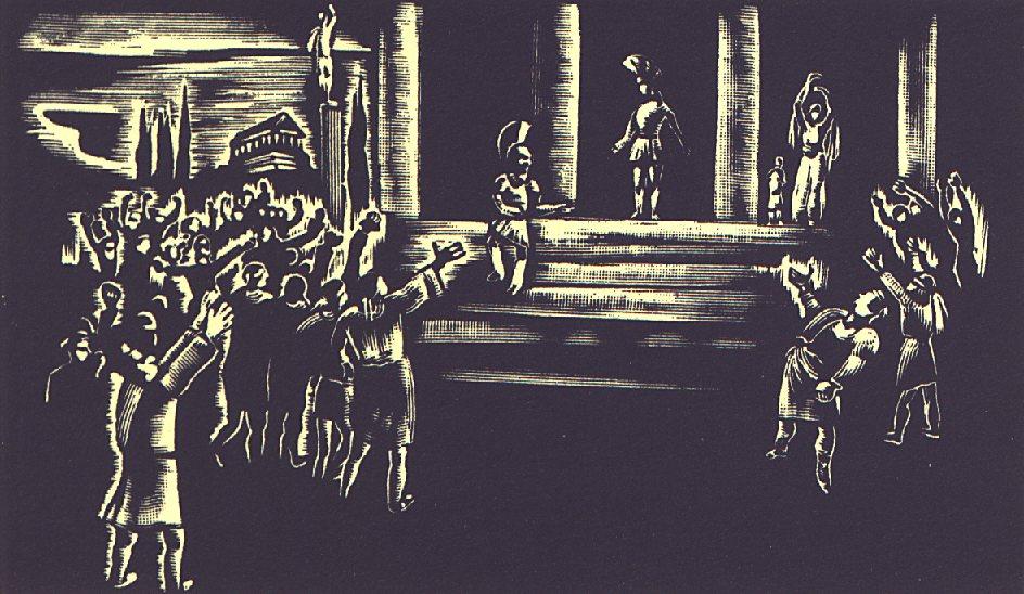 V. szín: Athénben <br />Buday György illusztrációja Madách Imre Az ember tragédiája című drámájához.