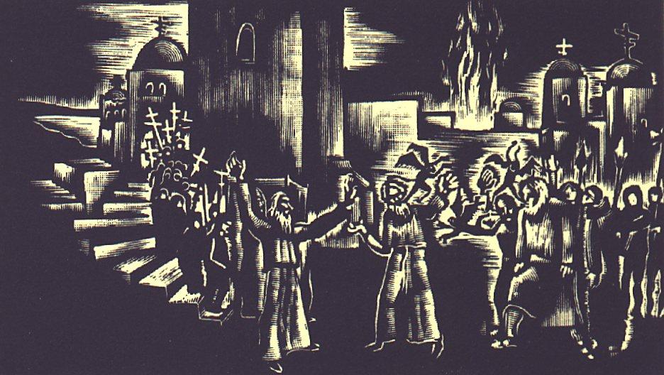 VII. szín: Konstantinápolyban <br />Buday György illusztrációja Madách Imre Az ember tragédiája című drámájához.