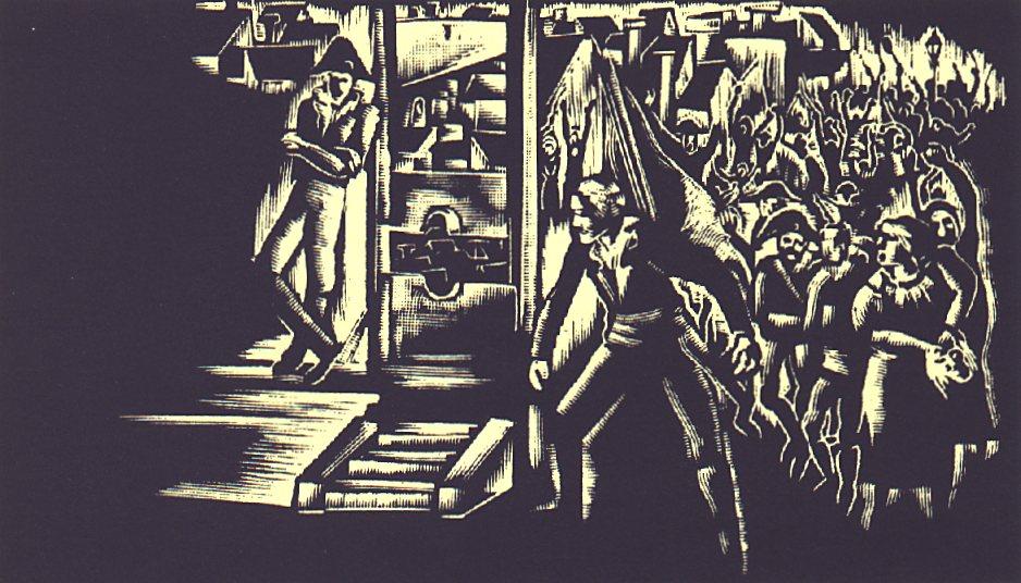 IX. szín: Párizs Grève-piaca <br />Buday György illusztrációja Madách Imre Az ember tragédiája című drámájához.