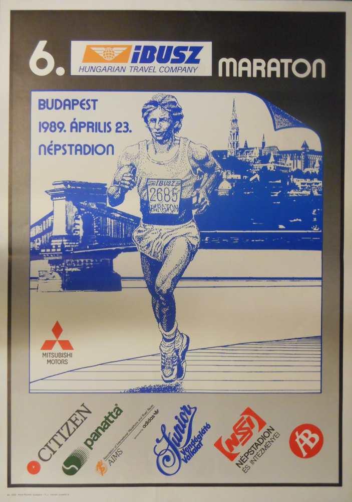 IBUSZ Maraton Budapest 1989. április 23. Jelzet: PKG.1989/786 – Plakát- és Kisnyomtatványtár