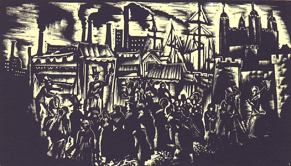 XI. szín: Londonban <br />Buday György illusztrációja Madách Imre Az ember tragédiája című drámájához.